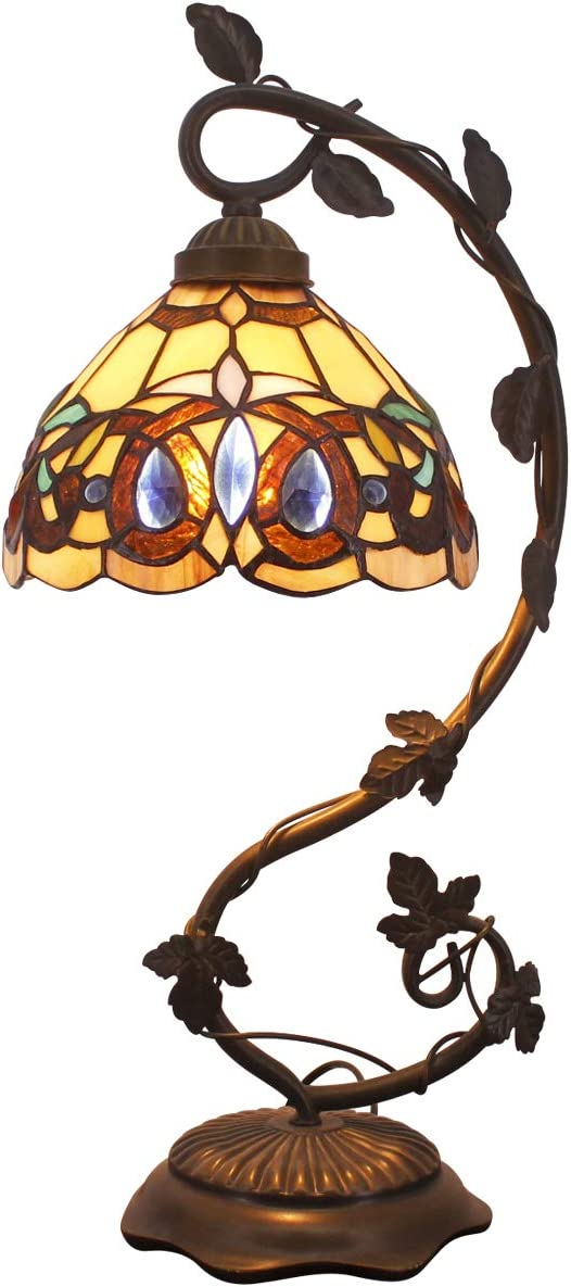 Tiffany Desk Lamp Stained Glass Serenity Victorian Style Table Lamps Wide 8 Inch Height 21 Inch for Living Room Antique Desk Beside Bedroom S021 WERFACTORY