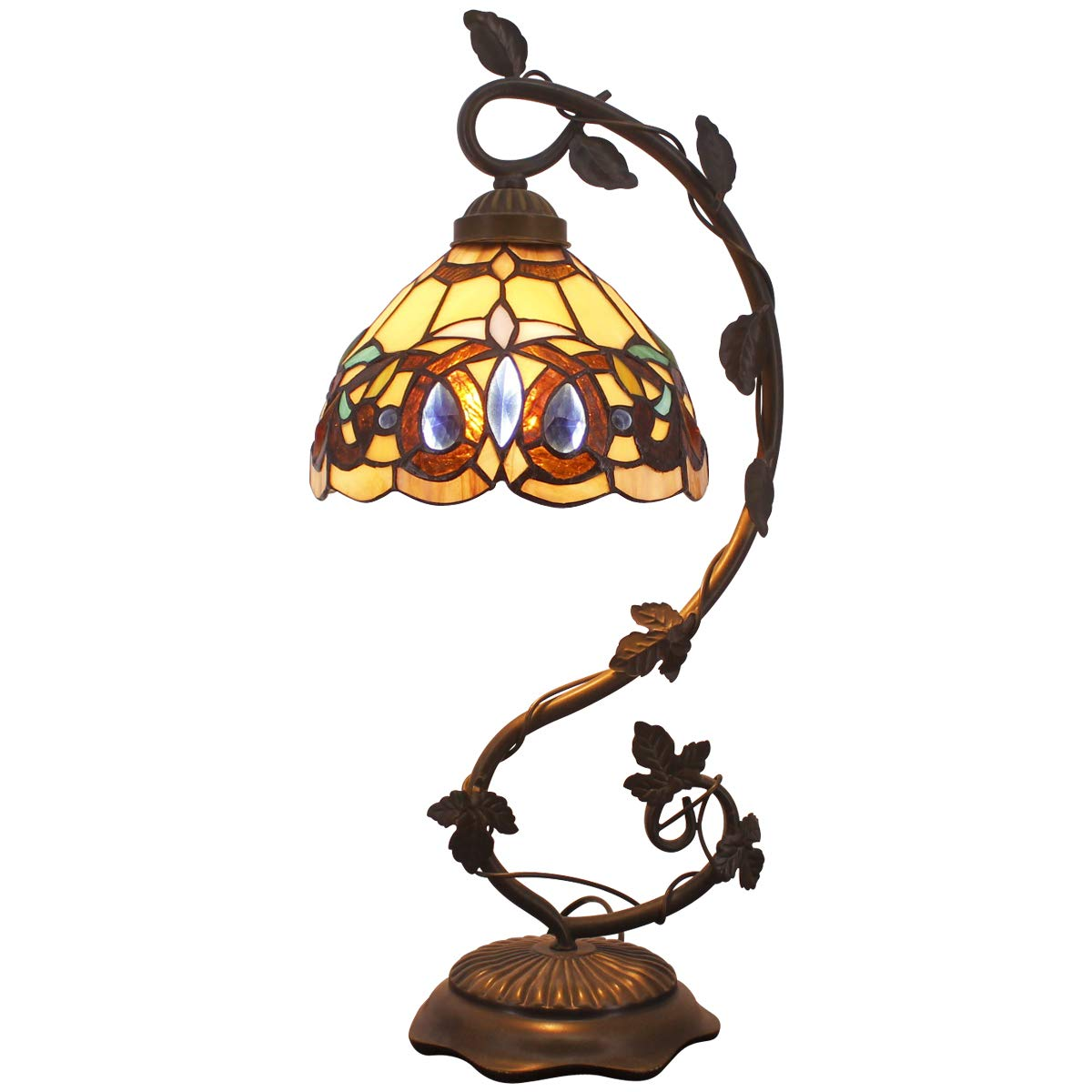 Tiffany Desk Lamp Stained Glass Serenity Victorian Style Table Lamps Wide 8 Inch Height 21 Inch for Living Room Antique Desk Beside Bedroom Set S021 WERFACTORY