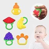 niceEshop(TM) 5 Pack Baby Fruit Teether,Soft Silcone BPA Free Baby Teething Toy