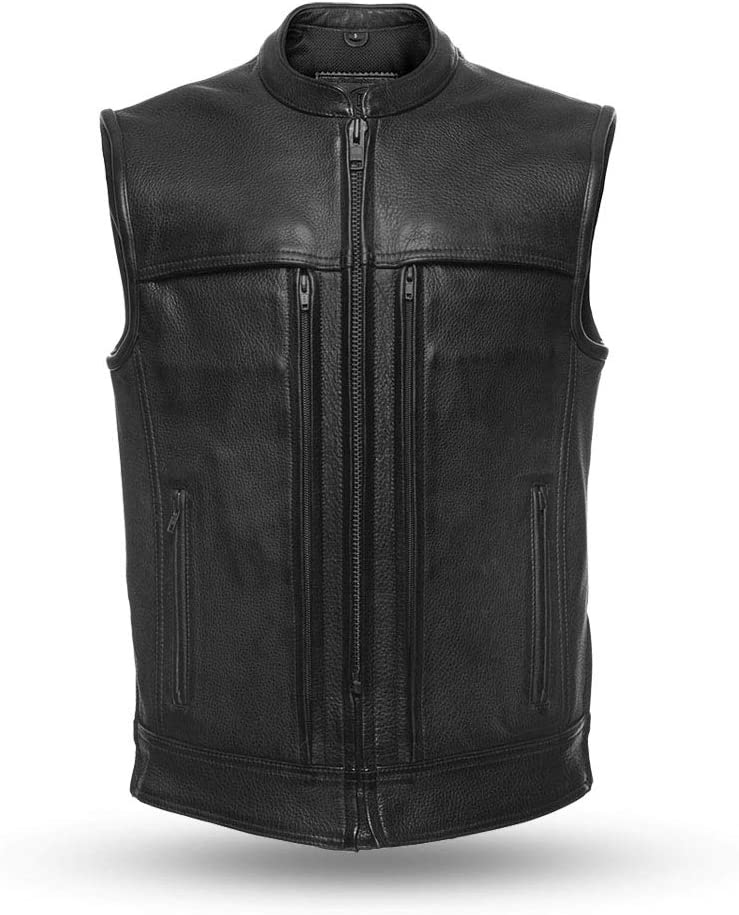 - Rampage Mens Motorcycle Leather Vest Black, 4X-Large First MFG Co