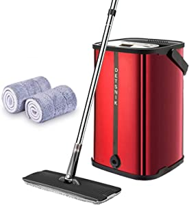 Flat Floor Mop and Bucket System,Upgrade Stainless Steel Mop Bucket with Wringer,Microfiber Mops for Floor Cleaning System,2 Washable & Reusable Mop Pads,360 Degree Rotation Pole Handle (Red)