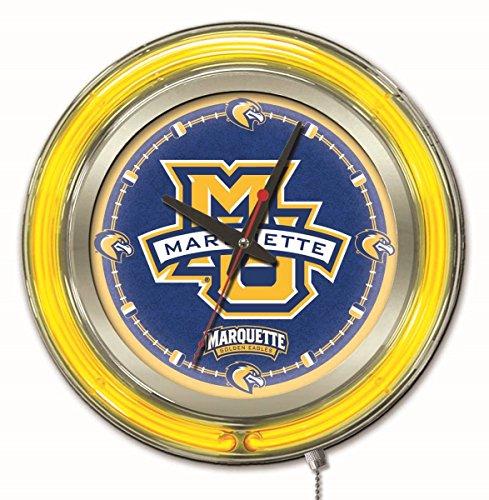 - Holland Bar Stool Company Clk15Mrqtte NCAA Marquette Golden Eagles Double Neon Ring Logo Clock, 15