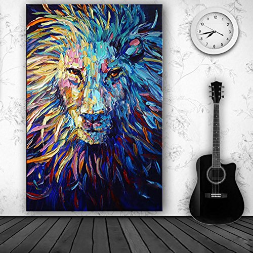 Orlco Art Hand-painted Abstract Lion Oil Painting Abstract Art Animal