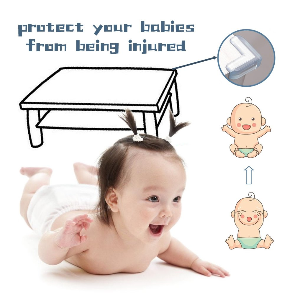 20 Packs Baby Safety Furniture Corner Guards/Edge Protectors/Anti-Collison Cushion Rubber Protection High Resistant Adhesive Gel | Best Baby Proof Corner Guards Stop Child/L-Shaped & Ball-Shaped