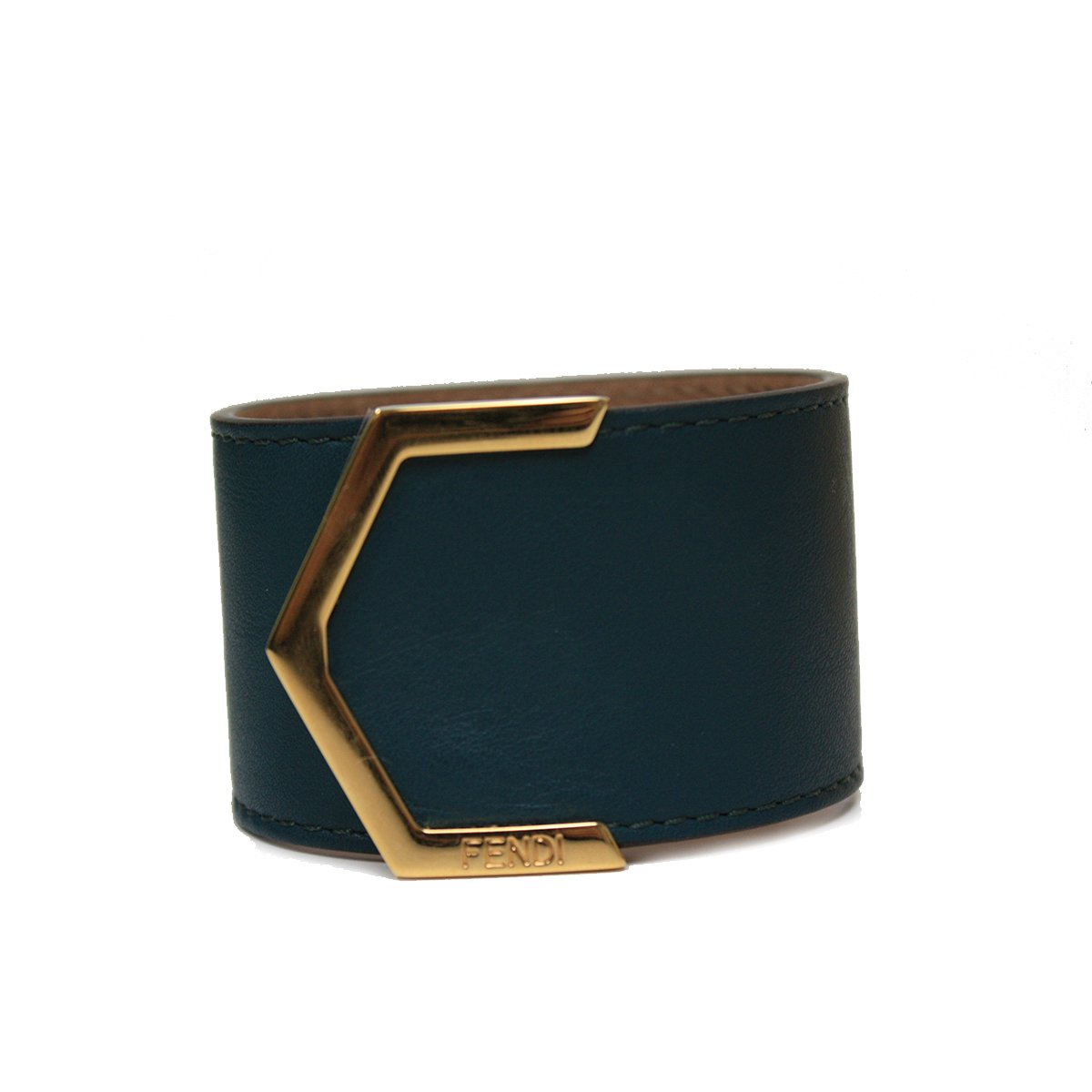 Fendi Leather Dark Teal Cuff Bracelet 240015 by Fendi