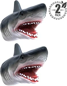 Tecesy Shark Hand Puppet Toys, Soft Rubber Shark Puppets Role Play Toy for Kids, Realistic Shark Head 7 inch (2 Pack)