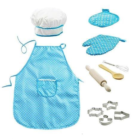 11pcs / Pack Chef De Cocina Conjunto De Niños Juegos De rol Traje del Cocinero con El Delantal del Cocinero Sombrero Utensilios De Cocina Mitt