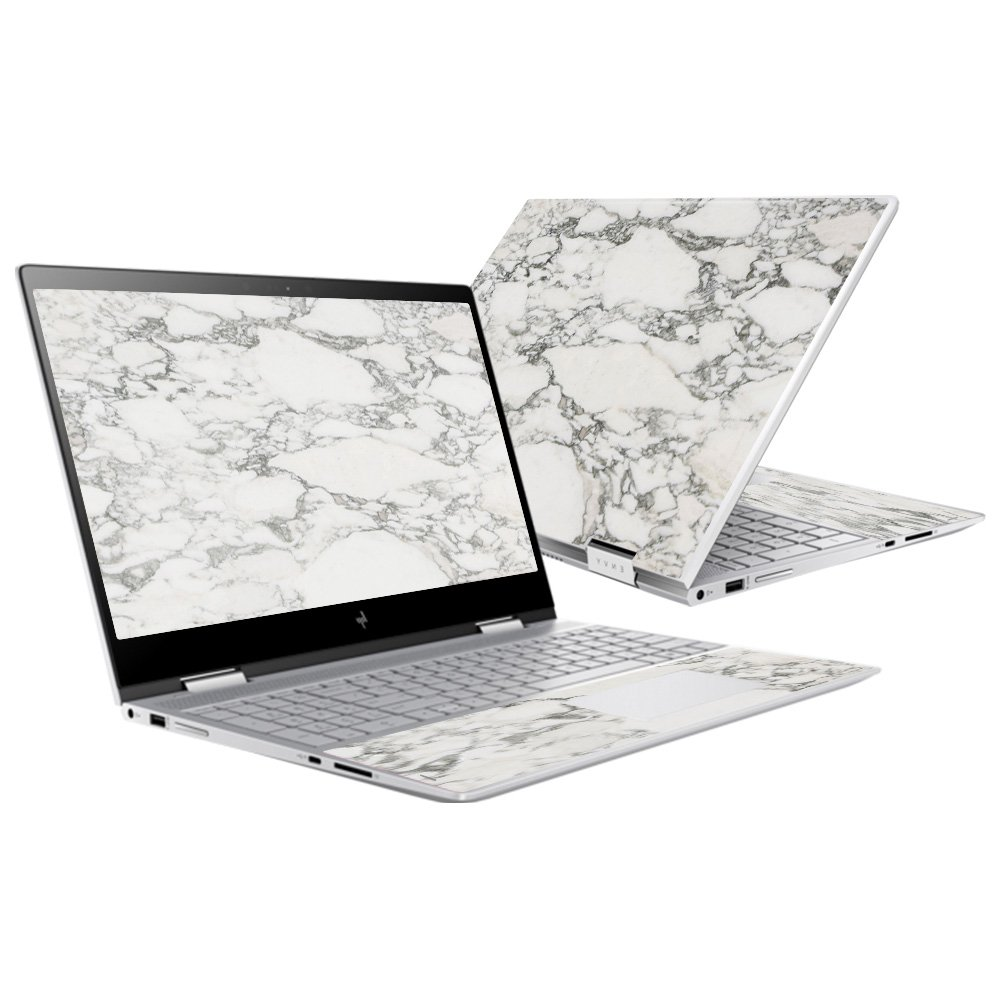 Skin for HP Envy x360 15'' (2017) - White Marble| MightySkins Protective, Durable, and Unique Vinyl Decal wrap cover | Easy To Apply, Remove, and Change Styles | Made in the USA