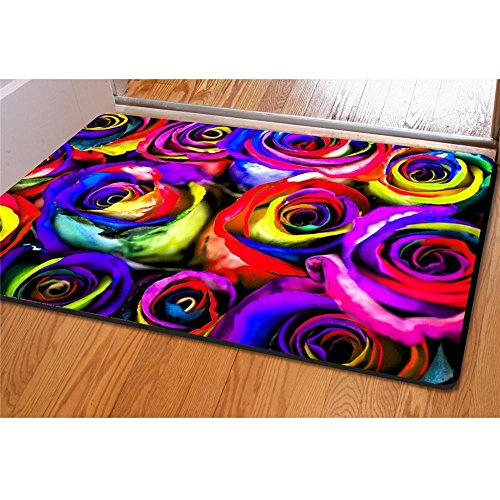 Dbtxwd Carpet 3D Roses Personality Printing Flannel Rectangle Foot pad Door mats Bedroom Living room Decoration 4060CM /pack of 2 , - Men Square Jaws With