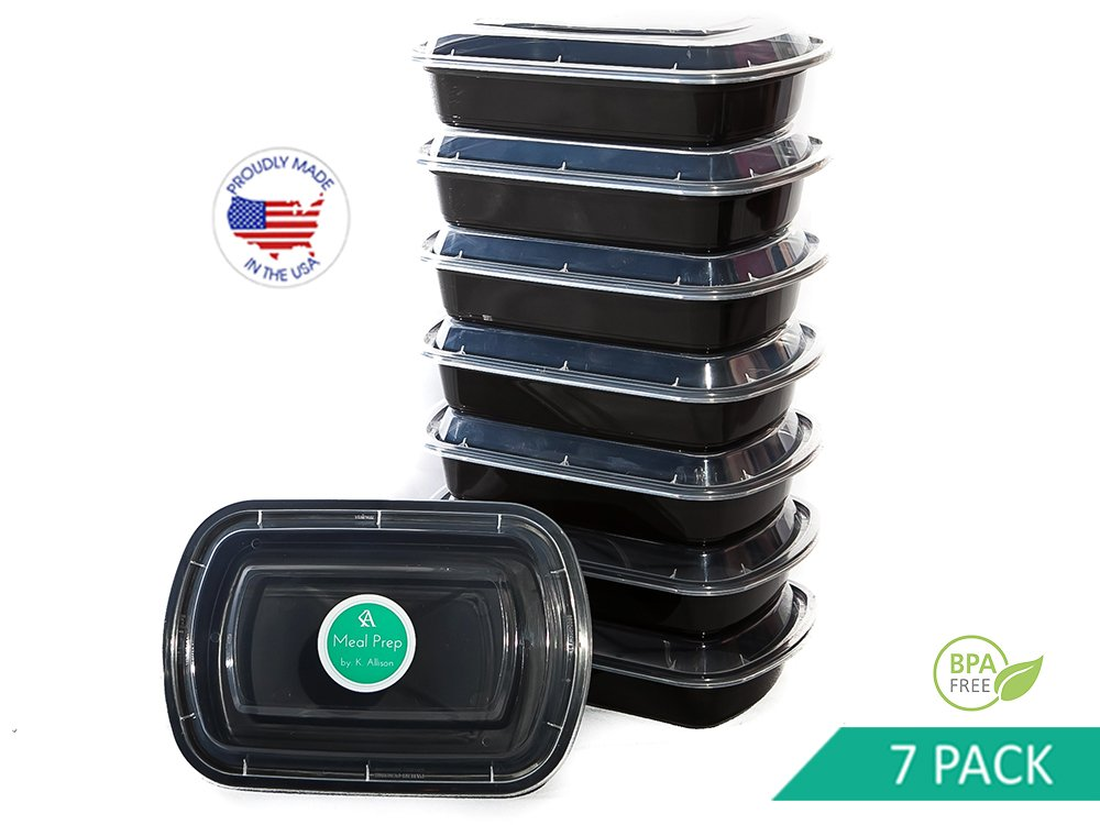 Meal Prep Containers | 1 Compartment | USA Made | Bento Box | 7 Pack Food Storage Lunchbox