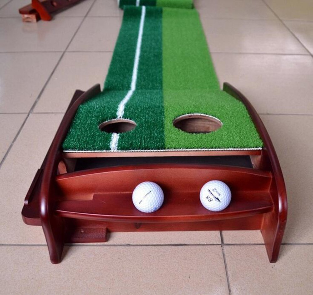 Honghetai Premium Wooden Putting Green Indoor Outdoor Golf, Golf Putting Mat Convenient Indoor Practice Training Aid Mat with Two Holes Ball Return System by Honghetai (Image #8)