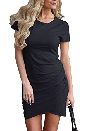 bed3b950c0 BTFBM Women s 2019 Casual Crew Neck Ruched Stretchy Bodycon T Shirt Short  Mini Dress