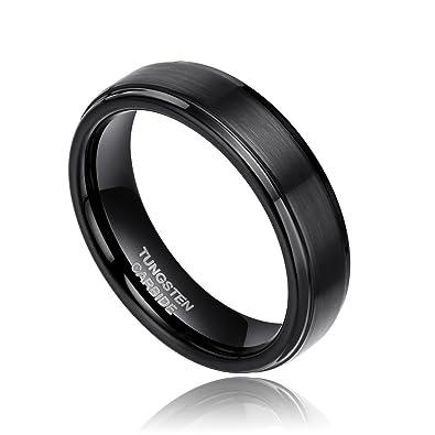 6mm 8mm Black Tungsten Carbide Wedding Ring Band for Men Brushed