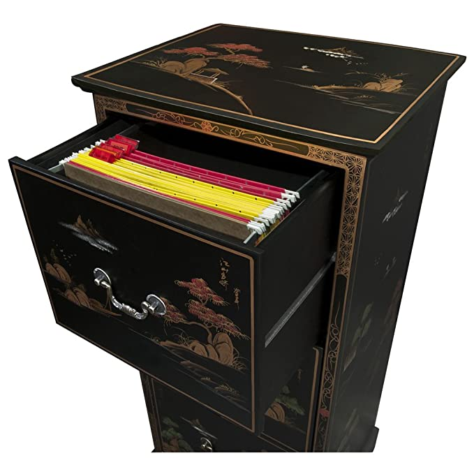 Genial Amazon.com: Chinoiserie Scenery Design 3 Drawer File Cabinet   Matte Black:  Kitchen U0026 Dining