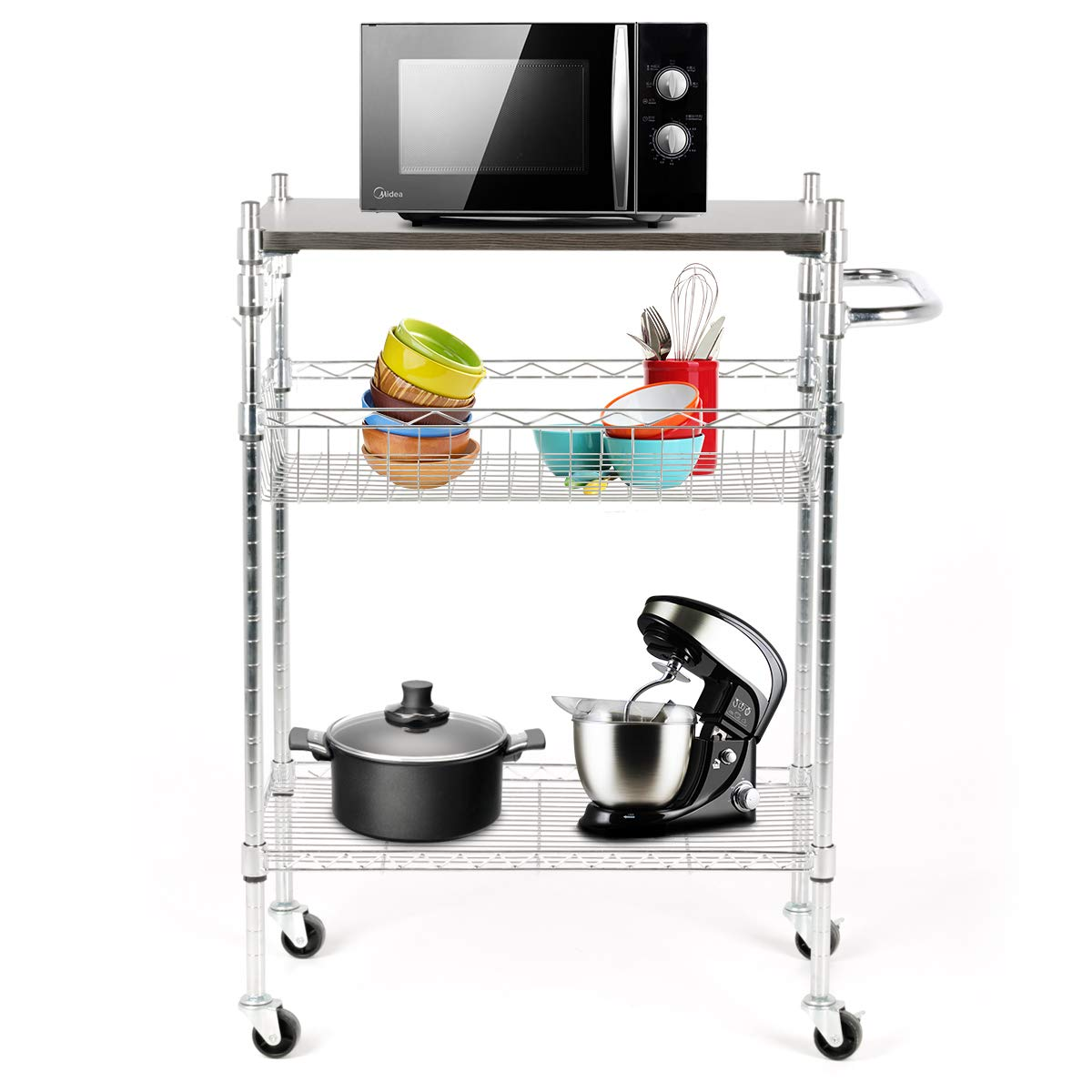BOCCA Supreme Kitchen Cart on 2 Locking Wheels with Handle Bar- Chrome Microwave Stand with 3 Tiers,Load Bearing of Wheels Moving 110 LBS, Immoble 264LBS