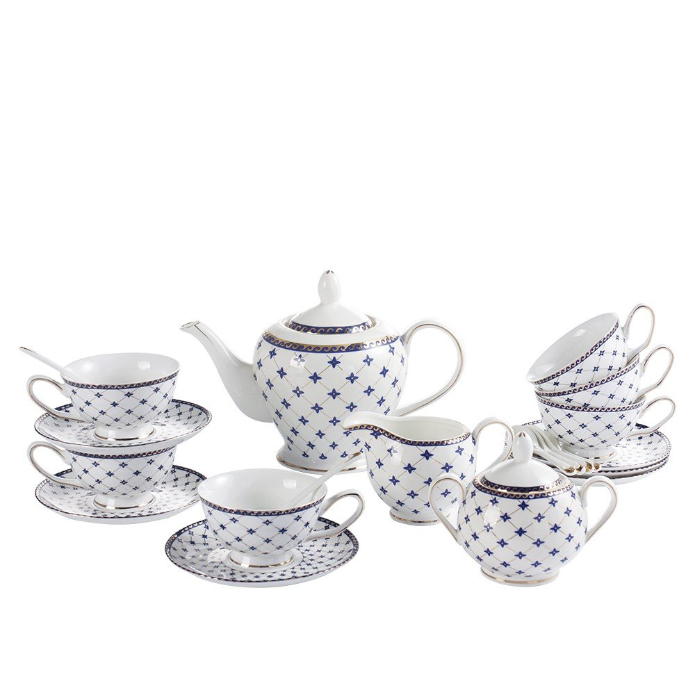Porlien Exquisite Porcelain Gold Trimmed Royal Blue 17-piece Tea Set Teacup & Saucer Set Service for 6, with Teapot Creamer Pitcher Sugar Bowl Teaspoons for Tea/Coffee