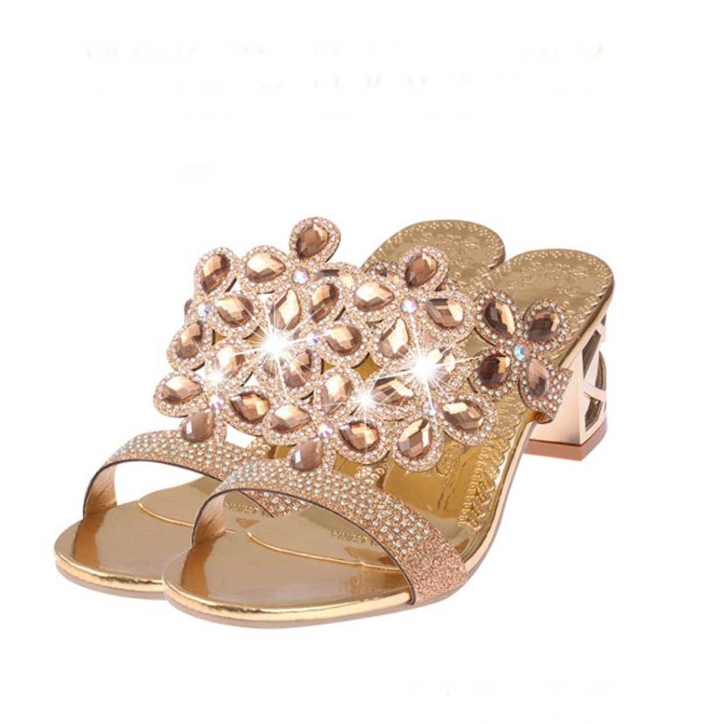 dbbe91151bd SUKEQ Stylish Women Faux Rhinestone Block Heel Peacock Pattern Slide ...