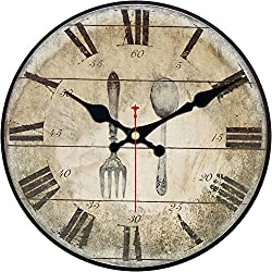 Wood Wall Clock, ShuaXin Vintage Retro Style Arabic Rome Numerals Design Non -Ticking Silent Quiet Wooden Clock Gift Home Decorative for Room, 12-Inches (Fork and Spoon)