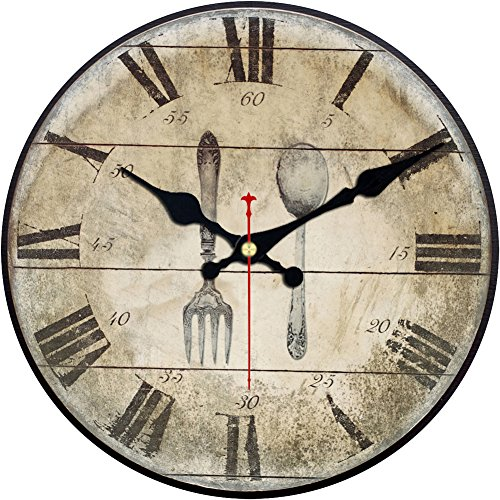 Wood Wall Clock, ShuaXin Vintage Retro Style Arabic Rome Numerals Design Non -Ticking Silent Quiet Wooden Clock Gift Home Decorative for Room, 12-Inches (Fork and Spoon) (Decorative Spoon And Fork Large)