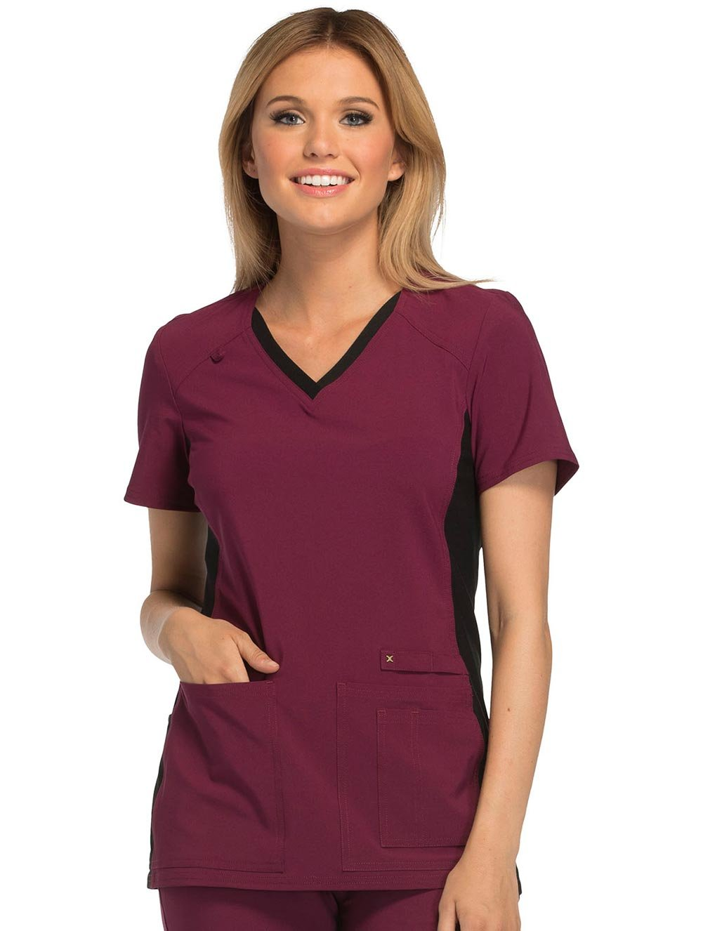 Cherokee iflex CK605 V-Neck Knit Panel Top