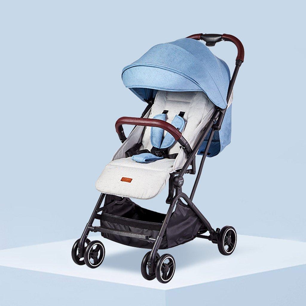 HAIZHEN マウンテンバイク ベイビーカートブルーピンク超軽量ポータブルは、スカイライトハーフマスクで折り畳み可能です。調節可能なサンシェードアンチUV EVAフォームショックアブソーバタイヤトロリーショッピングバスケット付きの5点シートベルトベビーキャリッジ 新生児  青 B07DLC7XQ6