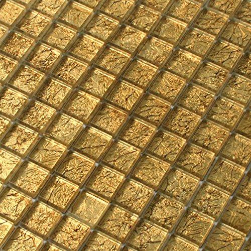 Glasmosaik Fliesen 23x23x8mm Gold Metall
