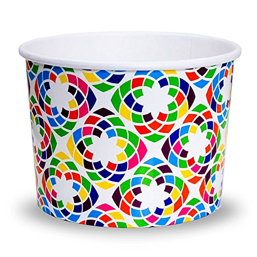 Premium 12 oz Kaleidoscope Paper Ice Cream Cups - Comes In Many Colors & Sizes! Fast Shipping - Frozen Dessert Supplies - Made in USA! 10 ()