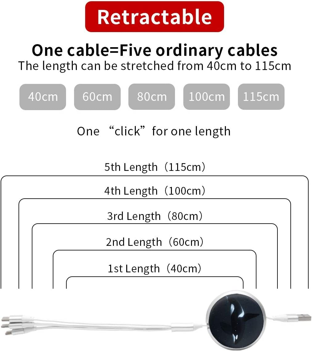 Black and White Orca Killer Whale Round Telescopic Aluminum Alloy Shell Charging Cable Three-in-One Data USB Cable Phone Charger