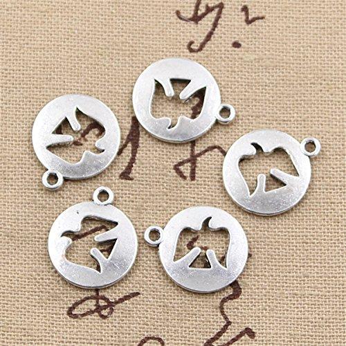 30pcs Charms Peace Dove Cut Out 15mm Antique Making Vintage Tibetan Silver Zinc Alloy Pendant