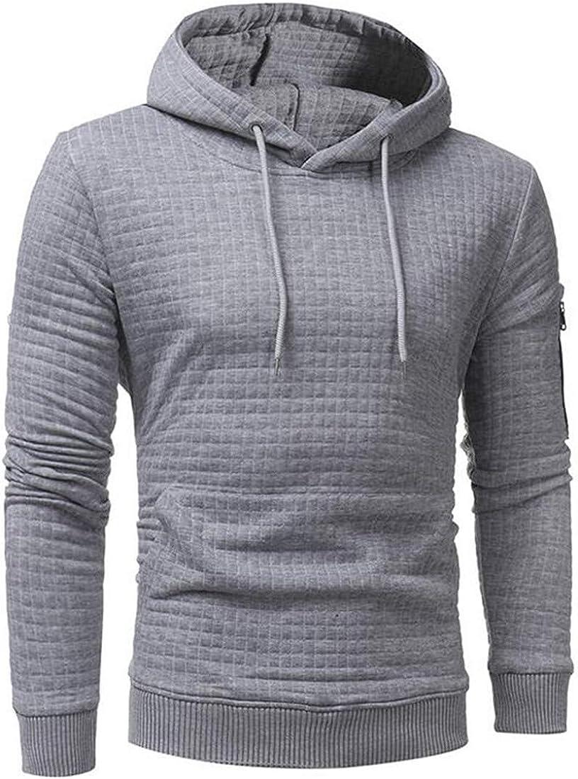 Bigbarry Mens Fashion Pocket Pullover Hooded Zip-Up Sweatshirts Jacket