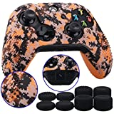 9CDeer 1 Piece of Studded Protective Customize Digital Camo Silicone Cover Skin Sleeve Case 8 Thumb Grips Analog Caps for Xbox One/S/X Controller Orange Compatible with Official Stereo Headset Adapte