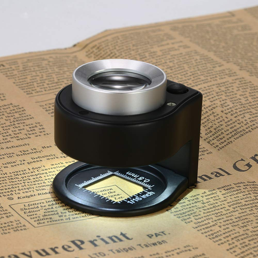 lectura mayor para impresi/ón textil manualidades 30 lupas de 26 mm con doble /óptica con luz LED y luz ultravioleta reparaci/ón y hobby lupa de metal con escala