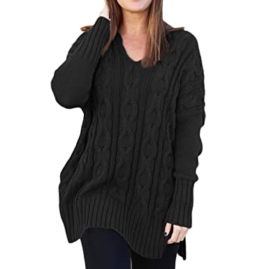 f804f8cf19 Ksenia Women Casual V Neck Oversized Knitted Baggy Loose Fit Knit Sweater  Pullover Top Black
