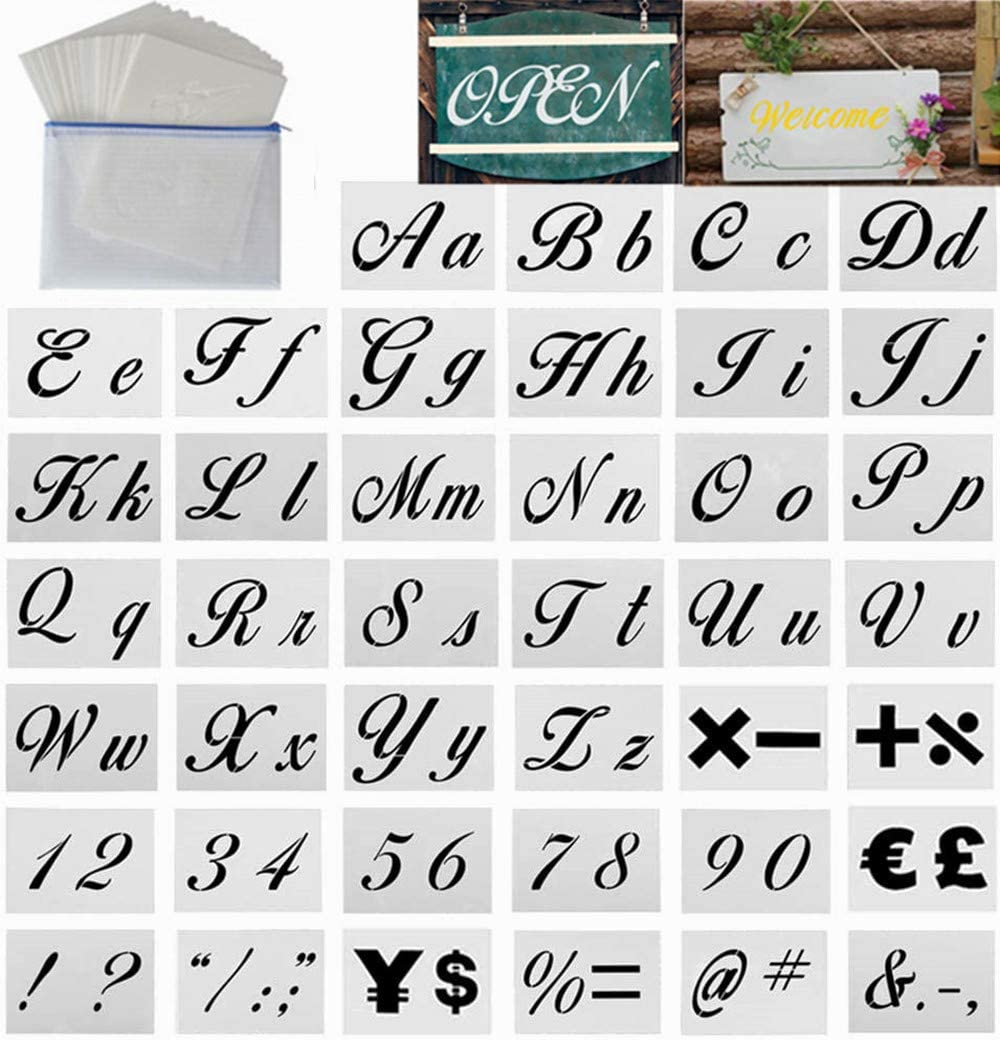 Drawing Alphabet Stencils Number Stencils for Painting Art and Craft 40 PCS Letter Stencils for Painting on Wood