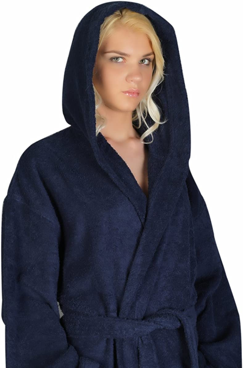 Arus Womens Hooded Classic Bathrobe Turkish Cotton Robe with Full Length Options