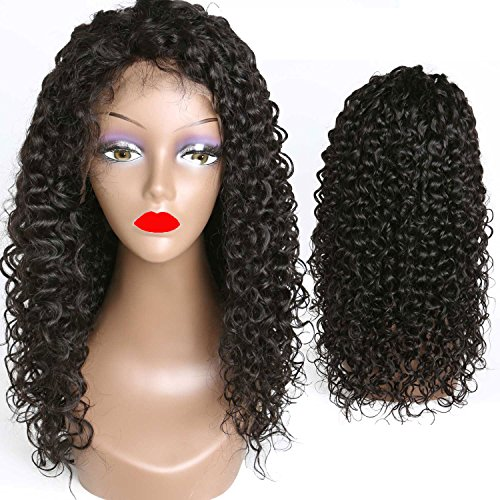 Weave Master Curly Lace Front Human Hair 130% Density Brazilian Remy Wigs with Baby Hair For African Americans Natural Color (16inch) by weave master (Image #1)