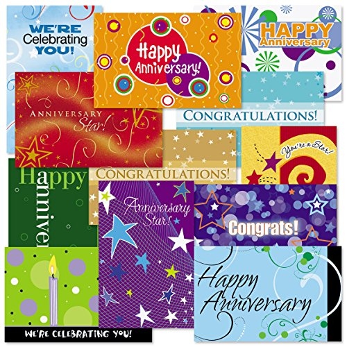 (Anniversary Greeting Card Assortment Pack, 5.5 x 8.5 inches folded, 2 of each 12 different designs, blank inside)