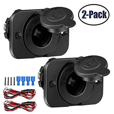2 Pack Cigarette Lighter Socket adapter Car Power Outlet Socket Receptacle 12V Waterproof Plug with Wire Fuse DIY Kit By ZHSMS: Automotive