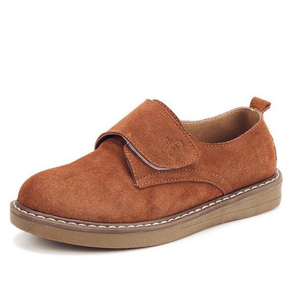 Zapatos casuales de las mujeres de cuero primavera verano pisos de otoño Velcro zapatos de moda solo damas talón pendiente de gran tamaño zapatos de las mujeres (Color : Marrón, tamaño : 39) 39|Marrón