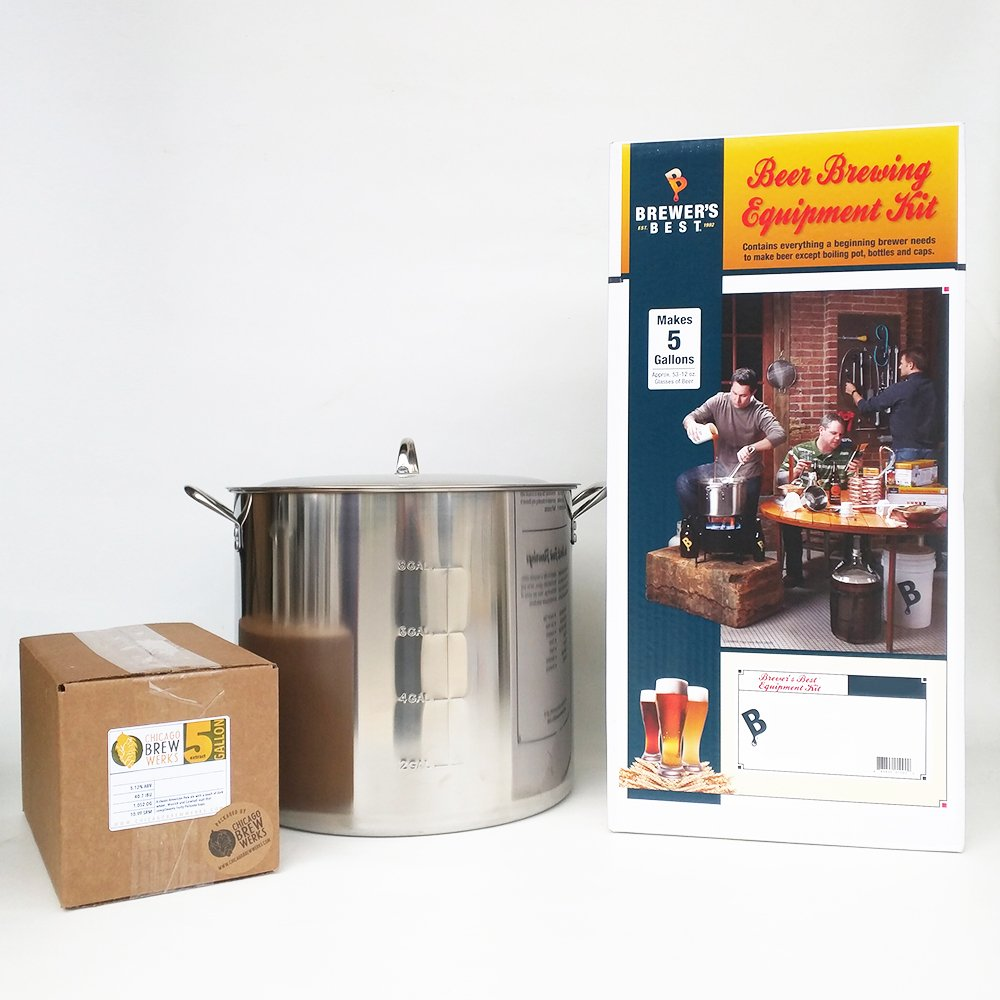 Brewer's Best Deluxe Equipment Kit with 42 Qt Stainless Steel Brew Kettle and Chicago Brew Werks 5 Gallon Ingredient Kit: Oats Made Me Do It