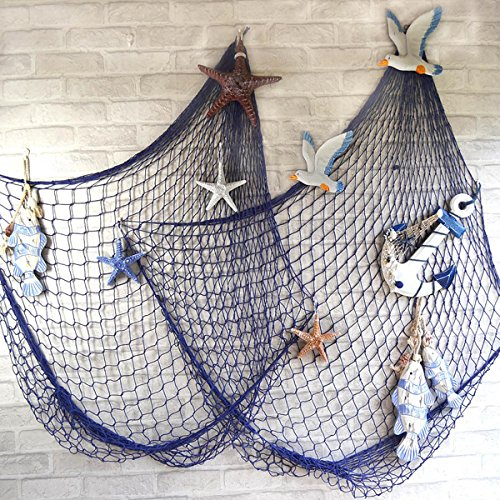 Yiping Brand New and Mediterranean Style Fish Net,Mediterranean Style Decorative Fish Net with Shells Blue (Color : White)