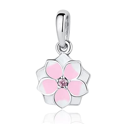 5781c78f8 Magnolia Bloom Pale Cerise Enamel & Pink CZ Dangle 925 Sterling Silver Bead  Fits Pandora Charm Bracelet: Amazon.co.uk: Jewellery