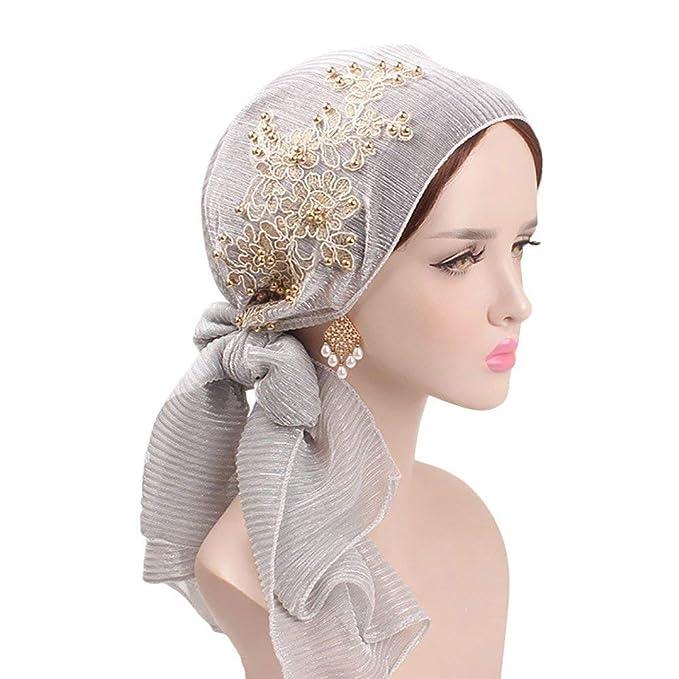 BoBoLily Señoras Musulmanas Turban Hijab con Seda Mujeres Retro Gorra Pañuelo Islámicas Especial Estilo Headwear Diadema