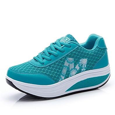 JRenok Damen Plateauschuhe Sneaker Schnürsenkel Laufschuhe Verbindung Strapazierfähig Gemütlich Entspannt Turnschuhe Blau 36 EU J2TY1