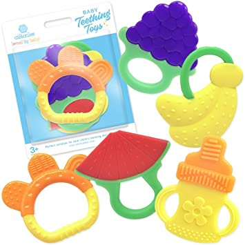 Amazon.com   Silicone Baby Teething Toys 5 Pack - BPA Free Natural Organic  Freezer Safe Teether Sensory Toy for 3 to 12 Months Babies 7f04444da
