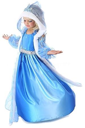 Princess Disfraz de reina de nieve de tres piezas con gorra para niñas 110-116 (120) Azul