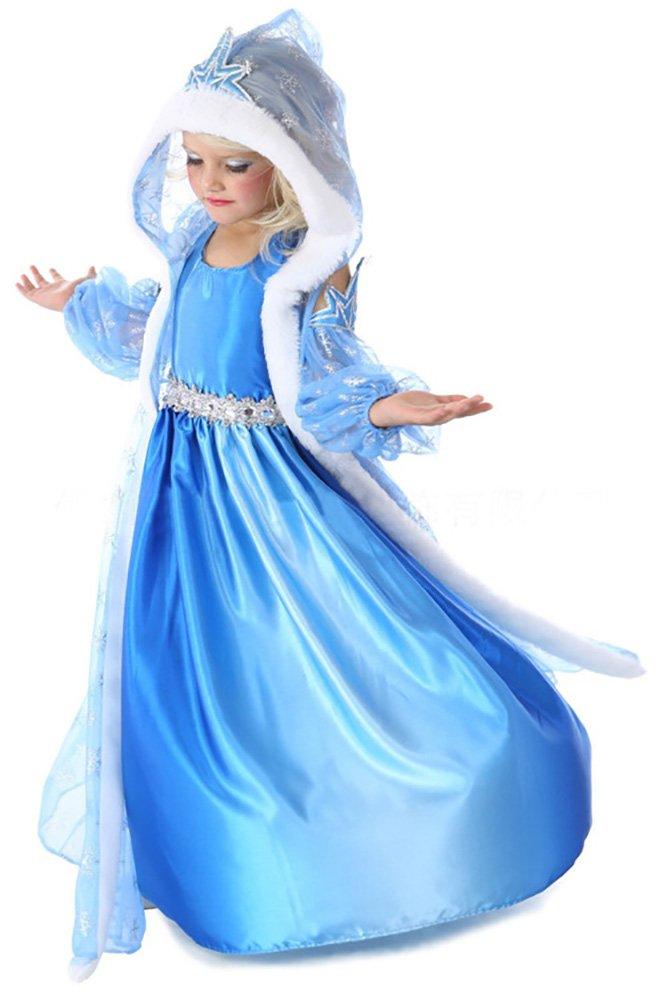 Snow Princess Blue Snowflake Ice Queen Girls Elsa Halloween Costume