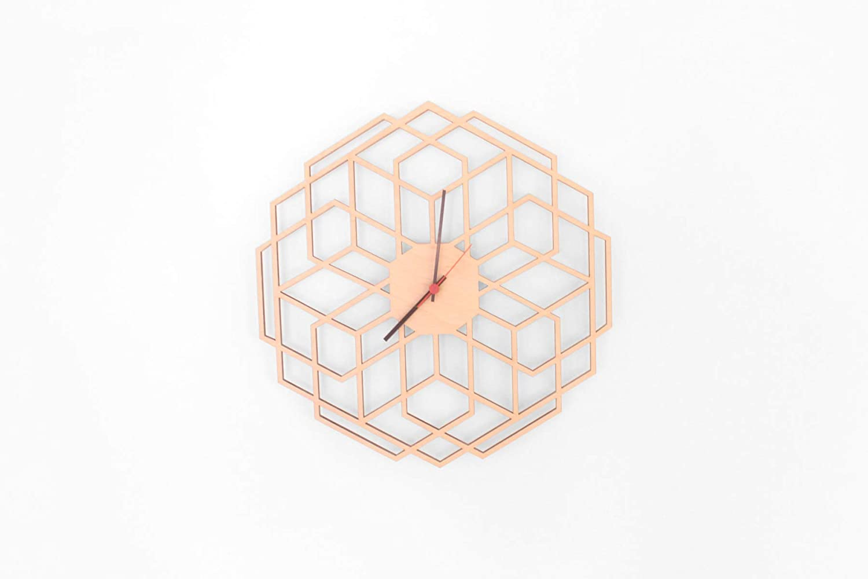 Moderne geometrische Wanduhr, Polygonal, Minimalistische, nordic, lautlos, 38cm, Kreative Holz- Uhr Home Dekoration Hochwertige Vintage Uhr Wohnzimmer