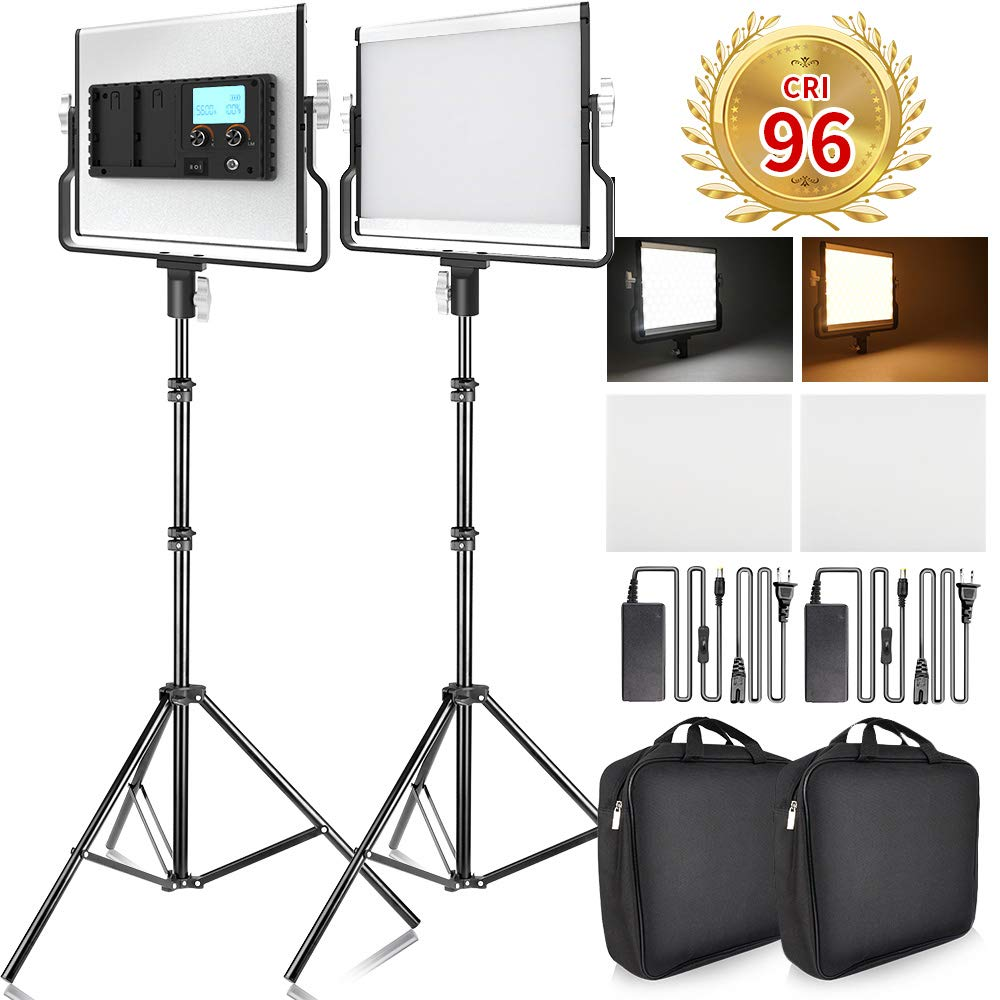 FOSITAN LED Video Light with 2M Stand Bi-Color 3960 Lux 200 SMD CRI 96+ U-Bracket LCD Display Metal Shell Video Lighting Kit for Studio Photography Shooting (2 Packs)