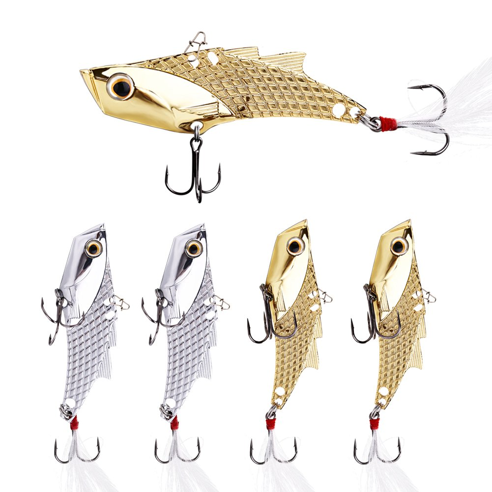 YONGZHI Fishing Lures Metal VIB Hard Spinner Blade Baits with Feathers Treble Hooks for Bass Walleyes Trout Fishing Spoons (Silver and Gold) by YONGZHI
